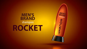 Men`s shampoo concept. Poster cosmetic care hair. shampoo bottle on orange background. The bottle is similar to a space rocket Stock Images