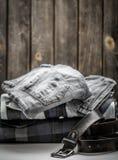 Men's shirt and belt Stock Photography