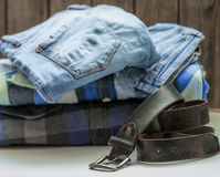 Men's shirt and belt Stock Images