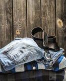 Men's shirt and belt Royalty Free Stock Photos