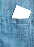 Men's shirt with blank card in pocket Royalty Free Stock Image