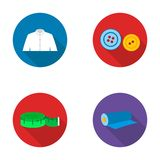 Men`s shirt, buttons, centimeter, a roll of fabric.Atelier set collection icons in flat style vector symbol stock Royalty Free Stock Photos