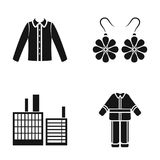 Men`s shirt, earrings and other web icon in black style. factory, uniform of fireman icons in set collection. Royalty Free Stock Photography
