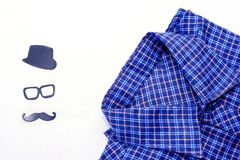 Men`s shirt on a white background. Father`s day concept card. Happy fathers day concept royalty free stock image