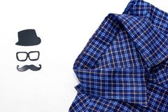 Men`s shirt on a white background. Father`s day concept card. Happy fathers day concept royalty free stock photography