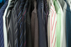 Men's Shirts In A Closet Royalty Free Stock Photo