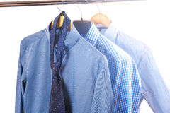 Men's shirts on hangers Royalty Free Stock Photos