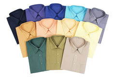 Men's Shirts. Twelve Colorful Men's Shirts Isolated on White Background Stock Photography