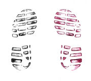 Men`s shoe prints on white Royalty Free Stock Image