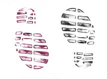 Men`s shoe prints on white Royalty Free Stock Image