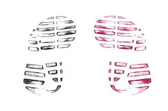 Men`s shoe prints on white Royalty Free Stock Photo