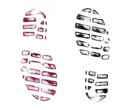 Men`s shoe prints on white Royalty Free Stock Images