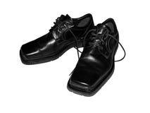 Men's shoes. Shiny black men's leather shoes Royalty Free Stock Photo