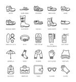 Men`s shoes & accessories. Vector line icon collection. Shoe car Stock Photography