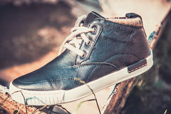 Men's shoes in the air Stock Photos