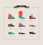 Men`s shoes and boots collection. Men`s shoes and boots vector illustration royalty free illustration