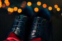 Men`s shoes and bow tie. Wedding accessories. And groom clothes Stock Images