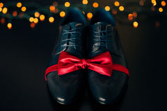 Men`s shoes and bow tie. Wedding accessories Royalty Free Stock Images