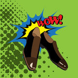 Men's shoes comic style. Royalty Free Stock Photos