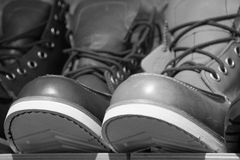 Men's shoes. On display at a shoe store Royalty Free Stock Photo