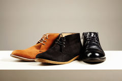 Men's shoes.fashion still life men boots Royalty Free Stock Photography