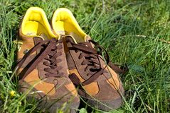 Men's shoes in grass Stock Image