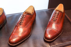 Men's shoes on the shop display Royalty Free Stock Photo