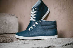Men's shoes, sneakers on nature Royalty Free Stock Images
