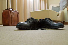 Men's shoes and suitcase Royalty Free Stock Photos