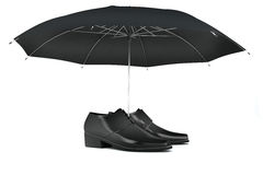 Men's shoes and umbrella Stock Photo