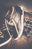 Men's shoes, vintage treatment Royalty Free Stock Photo