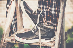 Men's shoes, vintage treatment Royalty Free Stock Photography