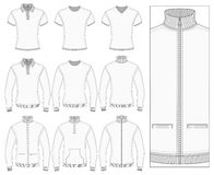Men's short and long sleeve clothes. Men's short and long sleeve clothes templates (front view). Vector illustration. No mesh. Redact color very easy. Ribbed Royalty Free Stock Photography