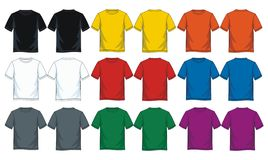 Free Men`s Short Round Neck T-shirt Templates, Front And Back Views. Stock Photo - 142181280