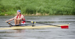 Men's Single Rowing Royalty Free Stock Photography