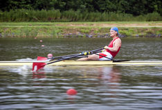 Men's Single Rowing. Contestant at a Men's Single rowing race Royalty Free Stock Image