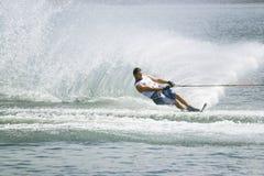 Men's Slalom Action - Aaron Larkin. Image of Aaron Larkin of New Zealand competing in the Men's Slalom Finals event at the 2009 Putrajaya Waterski World Cup Stock Images