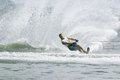 Men's Slalom Action - Chris Parrish. Image of Chris Parrish of USA competing in the Men's Slalom Finals event at the 2009 Putrajaya Waterski World Cup, held at Royalty Free Stock Photo