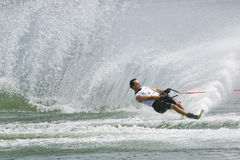 Men's Slalom Action - Javier Julio. Image of Javier Julio of Argentina competing in the Men's Slalom Finals event at the 2009 Putrajaya Waterski World Cup, held Royalty Free Stock Photography