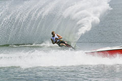 Men's Slalom Action - Nick Parsons. Image of Nick Parsons of USA competing in the Men's Slalom Finals event at the 2009 Putrajaya Waterski World Cup, held at Stock Images