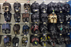 Men's slippers in shop. Slippers on store shelves, in St. Petersburg, Russia Royalty Free Stock Images