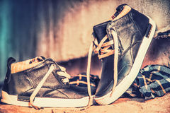 Men's sneakers in the dust on the asphalt Royalty Free Stock Image