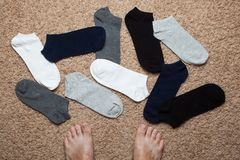 Men`s socks and legs close-up. Choosing socks at home stock image