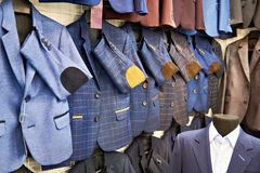 Men`s sport coats in clothing store Royalty Free Stock Photography