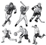 Men's Sports. This illustration includes 6 athletes in action. A male athlete is shown playing football, baseball, hockey, track & field, basketball and futbol/ royalty free illustration