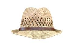 Men`s straw hat isolated on white background. Image of men`s straw hat isolated on white background Stock Image