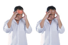Men's stress headache from working on a white background Royalty Free Stock Image
