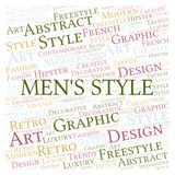 Men's Style word cloud. Wordcloud made with text only vector illustration