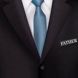 Men's suit with a blue tie-style realism backgrounds for invitations, for the holiday Father's Day Royalty Free Stock Photography
