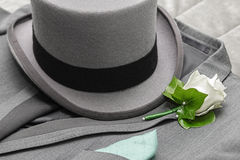 Men's suit and tall hat Royalty Free Stock Photography